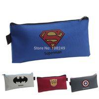 Cheap 2015 New Fashion Boy Super Hero School Pencil Bags Batman Captain American Printed Pencil Case Boys Girls Pencil Bags Wholesale