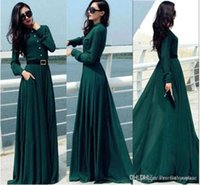 Crew ankle cocktail dresses - Vestido Longo Vintage Elegant Casual Lady Long Button Party Cocktail Maxi Shirt Dress Kaftan Abaya Green Dress Tunics OXL092401