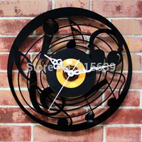 art deco wall clock - Music CD Wall Clock Art Deco Clocks Home Decoration Vintage Time