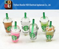 Wholesale Cheap Price Cute Starbucks Coffee Cup Earphone Dustproof Frappuccino Cap Plug Anti dust Stopper for iPhone s s s for Samsung