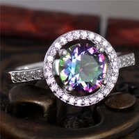 Wholesale silver Multicolor CZ Womens Exquisite Wedding Ring Size Womens Jewelry