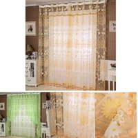 Wholesale Floral Tulle Door Window Curtain Drape Panel Sheer Scarf Valances Freeshipping Kimisohand