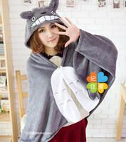 Wholesale My Neighbor Totoro Lovely Plush Soft Blanket Cloak Women s Cat Style Cape Poncho Gray Coral Fleece M L