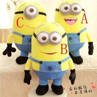 Wholesale 2016 New Cute cm Minions D Despicable Me Eyes Yellow Minion Doll Plush Stuffed Toys For Children Birthday Gift MYF25