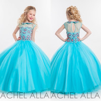 affordable formal wear - Sheer Neck Little Girls Pageant Dresses Rachel Allan Spring Crystals Sky Blue Ball Gown Affordable Beads Backless Formal Wear for Teens