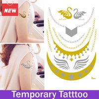 1 feuille Swan Wing Star Or Argent Tatouage Temporaire Tatouage Tatouage Tatouage Metal Tatouage Mehndi flashtatoo