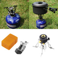 Wholesale Mini camping stove automatic ignition Portable Outdoor Picnic Gas Foldable Camping Mini Steel Stove Case ak077