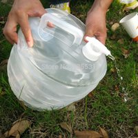 Wholesale L Camping Handle Collapsible Water Bucket Bottle Container Tap Storage K5BO