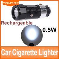 Wholesale NEW Black Aluminium Body Car Cigarette Lighter LED Flashlight lighting strobe SOS Torch Rechargeable Ni MH battery Built in