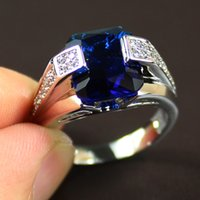 Gemstone ring - Size Men s Silver Filled Big Blue Sapphire Oblong Solitaire Gemstone Ring size