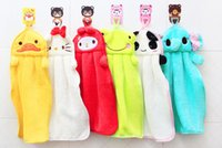 Wholesale Candy color super soft absorbent towel hanging coral velvet cute children s cartoon towels absorbent cloth kitchen towel duster towel hangin