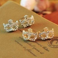 mask earrings - Korean Fashion Lovely Crystal Fox Mask Ear Stud Masquerade Flower Fox Earrings