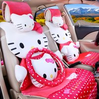 auto acessories - 19pcs fashion pink hello kitty car seats cover set full set polka dot cute cartoon auto chairs front and back seats covers car acessories