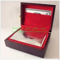 Wholesale Piece Sets No Pollutions Silver Foil Plated PET Material Silver Playing Cards With Wooden Box Packing