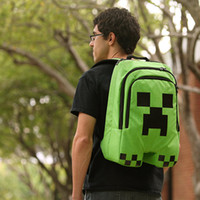 Wholesale Minecraft backpack game creeper backpack children school bags boys mochila double shoulder bag block coolie kids schoolbag cheap price