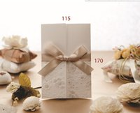 Wholesale New Laser Cut Premium Flower with Bow Wedding Invitation Card Flowers Party Event Wedding Card Customized Printing Text