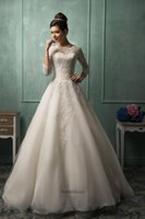 Wholesale New Sheer Long Sleeves A Line Lace Wedding Dresses Organza Lace Applique Court Train Bridal Gowns AS1282