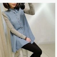 Wholesale Maternity clothing spring fashion small lapel maternity color block shirt maternity denim top shirt clothes for pregnant women