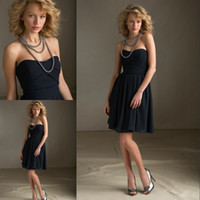 knee length cocktail dress - Pretty Black Cocktail Dresses Sweetheart A Line Backless Sleeveless Knee Length Chiffon Party Dresses Cocktail Gowns