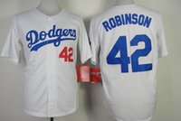 robinson - Brooklyn Dodger Jackie Robinson White Baseball Jerseys Champions Home Jersey White Men s Vintage Baseball Wears