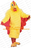 Wholesale Cute Yellow Chicken Mascot Costume Mascotte Chanticleer Chook Cock Rooster Plush With Red Yellow Wings Big Feet No Free Sh