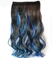 Wholesale hot Ms Dark brown sky blue sapphire blue three color gradient long curly hair colored hair piece