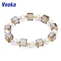 Wholesale Veeka jewelry crystal bracelet for women bracelet jewelry with real natural freshwater pearls and round gold plated beads