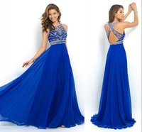 Wholesale 2016 Royal Blue A Line Chiffon Evening Dresses Formal Halter Exquisite Sequins Crystals Beading Prom Gowns Formal Arabic Vestidos De Festa