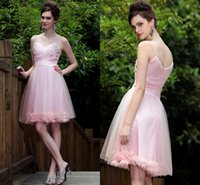 Wholesale Sexy Knee Length Pink Cocktail Dresses with Feather Beading Crystals Spaghetti Straps Zipper Short Prom Dress Party Gowns Custom Made CGL212