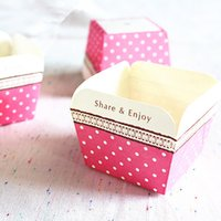 Wholesale Square red cupcake box white dot paper cup cake holder mold supplies