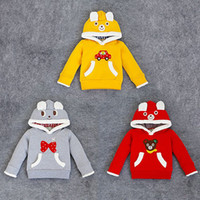 Wholesale 2015 Top Fashion Autumn Children Long Sleeved Sweater Hooded Cotton Turtleneck Cartoon Shirt Colors hoodies Sweatshirts Pieces