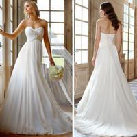 Wholesale New Women dress Fashion Sexy Romantic Vintage White Lvory Beading Elegant Chiffon Beach Wedding Dresses Plus size
