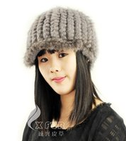 Wholesale CX C B Knitted Genuine Mink Fur Ladys Caps DROP SHIPPING