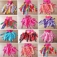 Blending ribbons and bows - European and American popular children Hair Accessories baby ponytail girls Headwear streamers Bow ponytail baby Ribbons mix color