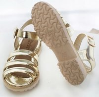 Wholesale New Arrival Children s Sandals Lovely Princess PU Leather Golden Shoes Kids Girl Low heeled Flats Shoes C054C