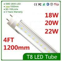 Wholesale Hot Sale CE ROHS FCC ft mm T8 Led Tube Light High Super Bright W W W Warm Cold White Led Fluorescent Bulbs AC V DHL