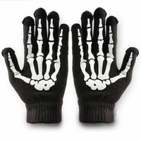 Wholesale Phone Tablet Finger Tip Touch Screen Gloves Skeleton Smart Warm Winter Cotton Mitten For Men And Women Black WF202