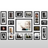 Wood Multi-frame Mixed Lot 2013 Fashion 17 Pcs Black Solid Wood Combination Wall Mounted Picture Photo Frame Art Home Decor L-A53