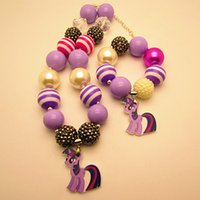 little girl jewelry - 2015 New my little pony kid jewelry sets Pendants necklaces bracelets chunky bubblegum bead children girls kid necklace pendant