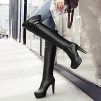 ladies high heel boots - 2014 Winter Fashion Girls Knight Boots Buckles Platform Round Toes Thigh High Heel Ladies Warm Shoes Black Brown Colors