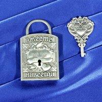 bathroom lock key - Mini keys Novelty lock craft with custom Russian letter Vintage Alloy wedding locks lovely souvenir for engagement anniversary