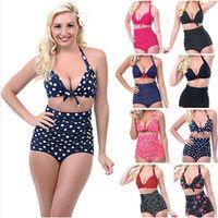 2015 push up a vita alta Swimsuit 4XL XXXL XXL donne costume da bagno imbottito Vintage bikini set retro Beachwear Swimwear Plus Size