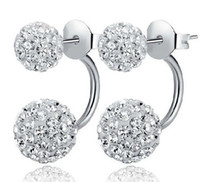 Wholesale 2015 New Jewelry Shamballa Disco Ball Stud Earrings Austrian Crystal Sterling silver Earrings for Wedding Party mm mm mm