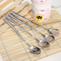 Wholesale Ship From US Stainless Steel Spoons for Ice Cream Coffee Cocktail Teaspoons Soup Tea Mixer