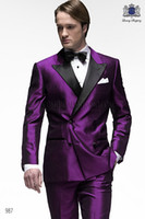 arrival clothing - New Arrival Double Breasted Purple Groom Tuxedos Peak Lapel Slim Fit Haut Men s Wedding Dress Prom Clothing Jacket pants Bows tie