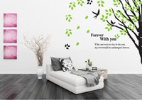 big green tree wall decal - Bird s Sing Forever with you Wall Quote Decal Sticker Big Large Tree with Green Leaves Wall Art Mural Decor Poster Home Art Decal Sticker
