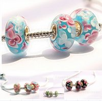 Wholesale DIY big hole glass beads Pandora charm bracelet accessories sale Loose beads Fashion jewelry cheap jewelry accessories DB