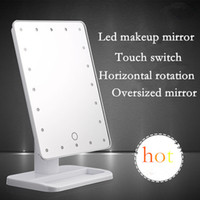 Wholesale 2016 popular Large white makeup mirror LED cosmetic miroir high definition rectangle Touch dimmer bathroom decoration CM