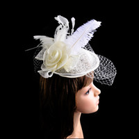 sinamay hat - New Sexy Lady Mesh Sinamay Feather Hat with Hair Clip Fascinator Wedding Bridal Party Church