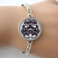 art rhodium - Star Wars Stormtrooper Bangle Picture Photo Art Glass Bracelet Silver Plated Charm Bracelet With Chain Boys Bracelet